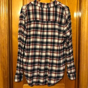 beachlunchlounge Tops - Flannel- maroon, navy blue, beige, and white plaid